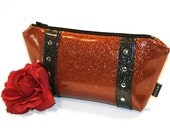 Orange Sparkle Bag, Vinyl Cosmetic Bag, Halloween Makeup Bag, Rockabilly Purse - MADE TO ORDER