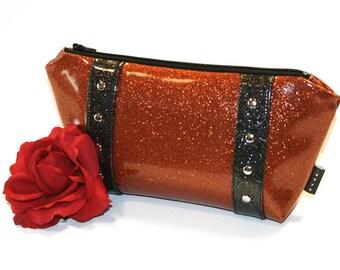 Orange Sparkle Bag, Vinyl Cosmetic Bag, Halloween Makeup Bag, Rockabilly Purse - MADE TO ORDER