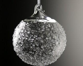 clear textured snowball blown glass ornament