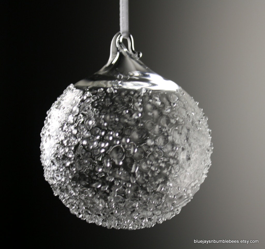 Clear textured snowball blown glass ornament