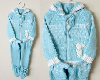 Vintage Baby Blue Sweater Snowsuit, Never Worn, 0 - 9 Months, 4 pc.