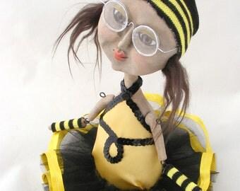 Seattle Grunge Bee - Art Doll with Ballerina Tutu - OOAK Folk Art