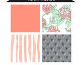 MINT PEACH -  3 piece Floral theme nursery crib bedding set - Baby girl crib bedding - Mint Peach Grey Golden tones - Custom bedding