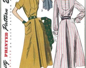 3059 1940's Women's Dress Vintage Sewing Pattern Simplicity 3059 Bust 30