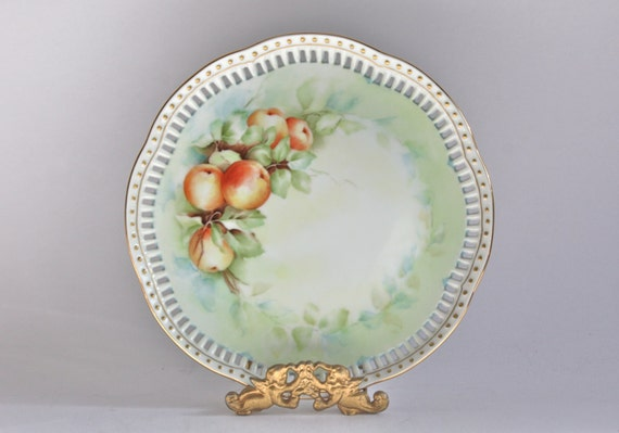 Peach Fruit Decor Plate Gold Trim By Periodelegance On