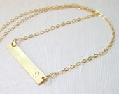 Custom initial necklace, Gold bar necklace,letter necklace,personalized jewelry,minimalist necklace,Layering necklace,hand stamped pendant