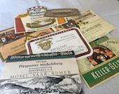6 Vintage German Wine Labels - Ephemera Collage Creative Spark Vintage Paper Pack - label lot - Germany - winery - wines - five - hostess