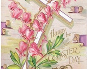 Happy Be Your Easter Day Vintage Postcard Embossed Easter Cross Series No 6