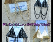 African Style Mudcloth Print Etched Earrings- MUDCLOTH PYRAMID