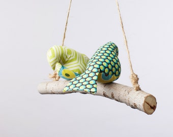 Love Birds - Birdies, Bird Swing, Bird Mobile in Greens, Teals and Browns