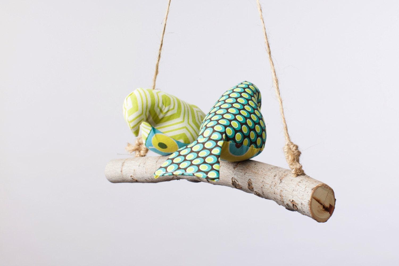 Love Birds - Birdies, Bird Swing, Bird Mobile in Greens, Teals and Browns