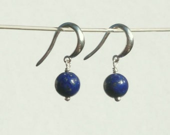 Lapis Earrings - Lapis Lazuli Round Bead Earrings in Recycled Sterling Silver from Sustainable Sources