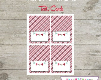 INSTANT DOWNLOAD - Red Wagon Tent Food Cards