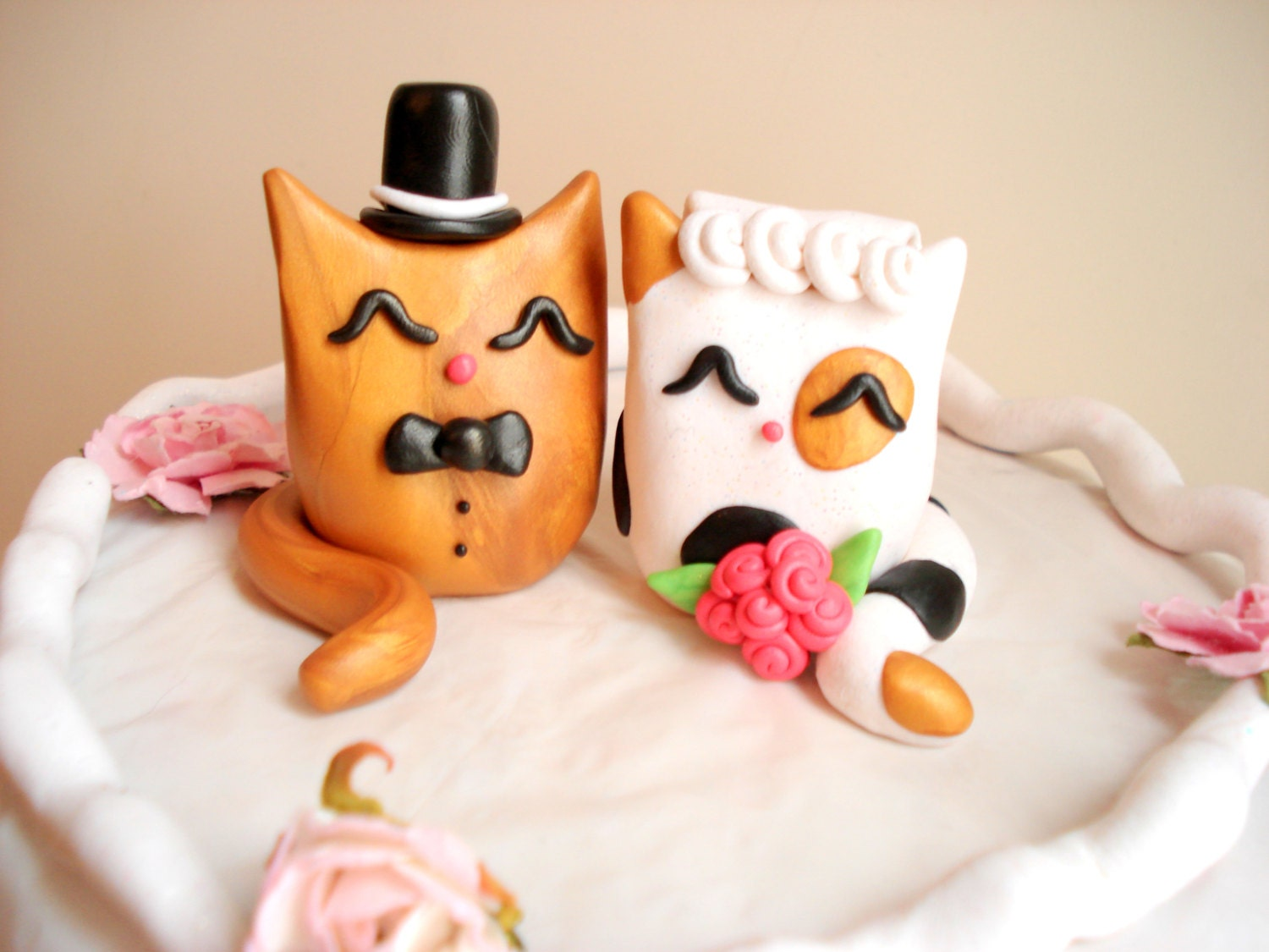 Cat Wedding Cake Topper Bride and Groom Kitty by ...