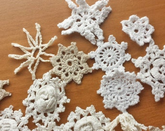 25 Mini White, Beige, Cream, Ecru Natural Colors, Crochet Doilies