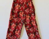 Vintage Red Roses - 1980's Wide Leg, High Waist  Pants - Size 6