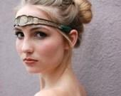 SALE Art Deco Metallic Bronze Leather and Silk Tulle Headband Forehead Band