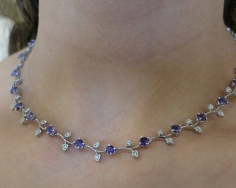 14K white gold Amethyst necklace.