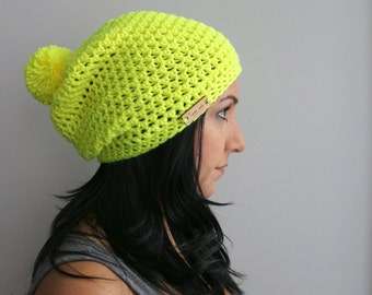 Neon Yellow Pom Pom Slouchy Hat, Vibrant EDM Neon Fashion Accessories