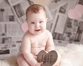 Heart Photo Prop Reclaimed Wood Heart / photo props baby newborn photo props wedding photoprop photobooth