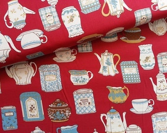 SALE Japanese Fabric Cotton Yuwa - Vintage Teapot Red - a yard