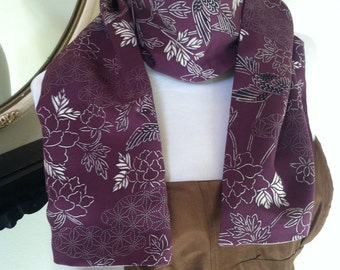 Purple Vintage Kimono silk with flying Song Birds Reversible scarf