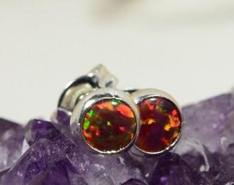 Black Opal Stud Earrings 4mm Tiny Post Earrings Gemstone Jewelry Birthstone October