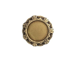 Ox Brass Art Deco Round Circle 30mm Cabochon Setting with Shell Detail Stamping Qty 1 Made in the USA Gold Brass from Dr Brassy Steampunk