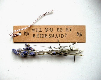 Floral Be My Bridesmaid or Maid of Honor Bookmark - Hand Stamped / Unique Typewriter Font Floral Vintage Style Rustic Literary Wedding