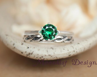 Silver Celtic Solitaire Emerald Green Spinel Wedding Set - Silver Celtic Pattern Band - Vintage Style Solitaire Celtic Engagement Ring Set
