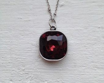 Square Rhinestone Necklace, Red Rhinestone Necklace, Ruby necklace, Red Rhinestone, Statement Necklace, Jewelry, J Crew Necklace, Necklace
