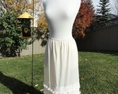 Flirty, Lacey Cream and Ecru Underskirt Slip sz M - L Upcycled Altered Couture