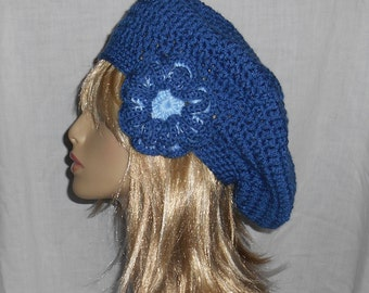 Colonial Blue Crochet Slouch Hat  with removable flower- FREE SHIPPING to US and Canada