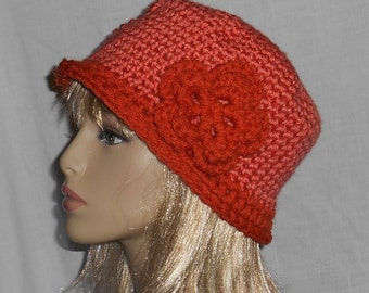 Two-Tone Orange Rust Crochet Hat with Removable Flower - FREE SHIPPING to US and Canada