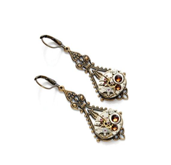 NOVEMBER Steampunk Earrings, Steampunk Wedding, Smoked Topaz Birthstone Earrings Antique Brass Steampunk Jewelry by Victorian Curiosities