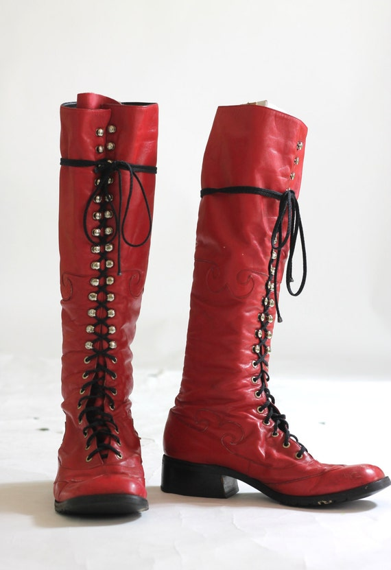 Tall 70s Lace Up Red Combat Boots Vintage 70s Mod Meets Grunge