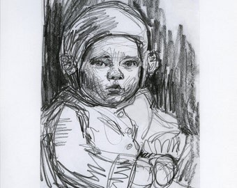 art drawing - Snow Baby - original pencil drawing, winter baby, winter art, victorian portrait, home decor wall art, black and white art