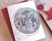 Card for him, I love you card, Letterpress, vintage moon and stars. 'To the moon and back and beyond the stars'  for stargazers & lunar fans