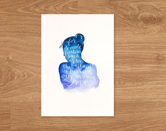 Woman's silhouette with hand lettered quote Art Print