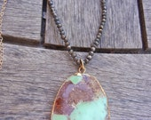 Gold Green Chrysoprase Pendant, Natural Chrysoprase Pyrite Pendant, Long Natural Pendant, Large Turquoise Pendant, Druzy Pendant
