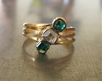 Antique Diamond Emerald Ring-1800s Engagement Ring-Unique Engagement Ring-Emerald Engagement Ring-Table Cut Diamond-Right Hand Ring