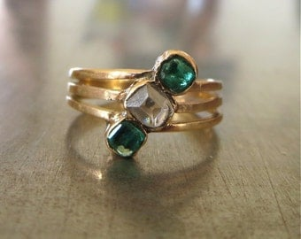 Antique Diamond Emerald Ring-1800s-Estate Diamond Ring-Unique Engagement Ring-Emerald Diamond Engagement Ring-Table Cut Diamond-Right Hand