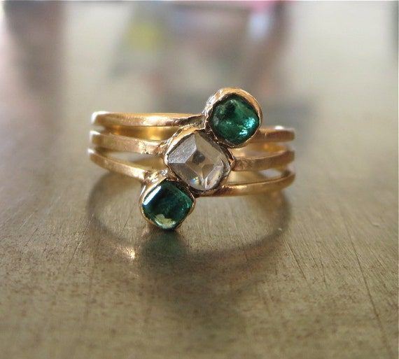 Antique Diamond Emerald Ring-1800s Engagement Ring-Unique