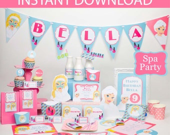 Spa Party - Spa Birthday Party - Printable Kit - INSTANT DOWNLOAD -