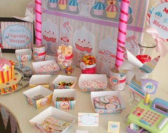 Cupcake Party Decoration DIY Printable Kit - INSTANT DOWNLOAD