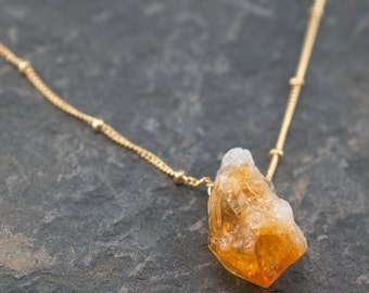 Raw Citrine Necklace - Gold Satellite Chain - Rough Gemstone Crystal Point Yellow Nugget Boho Style Layering Jewelry - November Birthstone