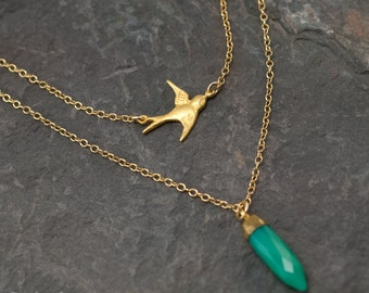 Layered Necklace Set - Swallow Bird Necklace - Gemstone Point Necklace - Stone Spike Pendant - Chrysoprase Necklace - Layering Jewelry
