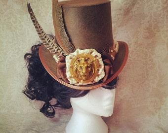 Top hat, Mad Hatter hat, Alice in Wonderland, Steampunk Hat, Tea Party, Steampunk Wedding, Full size top hat, Mens Top hat, Steampunk outfit