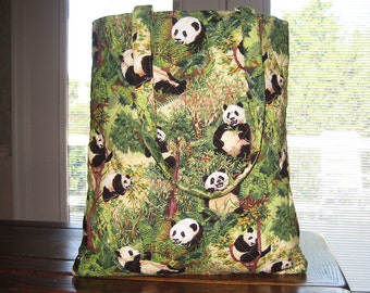 Adorable Green Quilted Panda Bear in Trees Tote Bag
