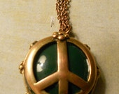 Peace Sign Pendant with Green Glass on Copper Necklace - Flower Power - Here's to the Wonderful 70's